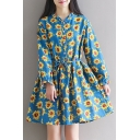 New Fashion Sunflower Print Button Long Sleeve Dress