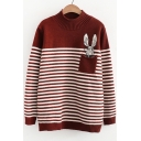 Cartoon Rabbit Striped Print Long Sleeve Pullover Sweater with Pocket