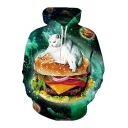 Popular Hamburger Cat Galaxy Printed Long Sleeves Pullover Hoodie with Pocket