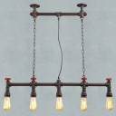 Industrial 5 Light Multi Light Pendant with Valve in Open Bulb Style, Rust