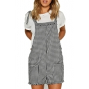 Retro Gingham Plaids Bow Tie V-Back Double Pockets Mini Overall Shorts