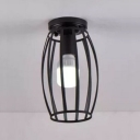 Industrial Nordical Flush Mount Ceiling Fixture with Metal Cage in Black, 5.9''W