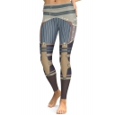 Steampunk Color Block Striped Pattern Slim-Fit Elastic Waist Leggings