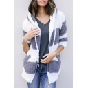 Trendy Color Block Hooded Faux Fur Zippered Winter Coat