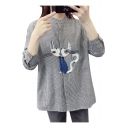 New Stylish Cartoon Cat Pattern Stand-Up Collar Long Sleeve Tunic Shirt