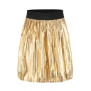 New Fashion Chic Pleated Leather Elastic Waist Mini Skirt