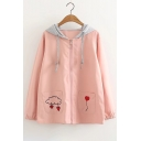 New Trendy Cloud Heart Embroidered Contrast Hood Zipper Coat