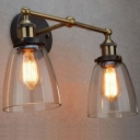 Industrial 2 Light Multi Light Wall Sconce with Clear Glass Shade