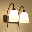Industrial Vintage 11.8''W Multi Light Wall Sconce with White Glass Shade, 2 Light