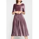 New Arrival Plain Round Neck Half Sleeve Pleated Maxi Velvet Dress