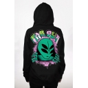 Hot Sale Alien Letter Pattern Long Sleeves Pullover Hoodie with Pocket