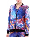 Pop Fashion Oil-Painting Color Block Contrast Trim Zippered Jacket with Pockets