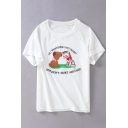 Cute Cartoon Cat Dog Letter Embroidered Round Neck Short Sleeve Graphic Tee