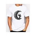 Basic Character Moon Printed Crew Neck Short Sleeve Tee