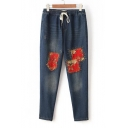 Peasant Style Floral Applique Drawstring Waist Loose Dark Wash Denim Jeans