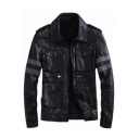 Cool Striped Pattern Long Sleeves Multiple Pockets Zippered Leather Jacket