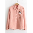 Fashion Letter Cartoon Embroidered Long Sleeve Lapel Button Down Shirt