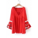 New Stylish Plunge Neck Flared Sleeve Embroidered Pattern Dress