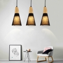 Industrial Vintage 3 Light Multi-Light Pendant Light with Fabric Shade in Black/White