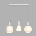 Industrial 3 Light Multi Light Pendant with White Glass Shade in Nordical Style, 20''W