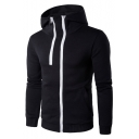 Basic Simple Plain Double Zippered Long Sleeves Leisure Hoodie with Pockets