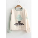 Cute Cactus Cartoon Letter Color Block Lace-up Sleeves Round Neck Pullover Sweatshirt