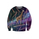 Fashion Giraffe Galaxy Print Round Neck Long Sleeve Pullover Sweatshirt