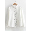 Casual Cat Shaped Embroidery Point Collar Long Sleeves Button Down Shirt
