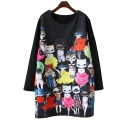 Trendy Cartoon Cat Print Scoop Neck Long Sleeve Dress