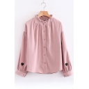 Heart Embroidered Ruffle Stand-Up Collar Long Sleeve Shirt