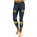Popular Superhero Color Block Slim-Fit Elastic Waist Leggings