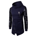 Men's Fashion PU Patchwork Color Block Zippered Tunic Hoodie with Pockets