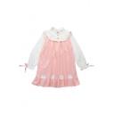 Fashion Color Block Cartoon Print Ruffle Bow Cuff Long Sleeve Collared Dress