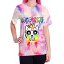 Fashionable Cartoon Crying Unicorn Letter Printed Round Neck Short Sleeves Casual Tee