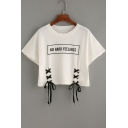 Stylish Letter Print Tie Front Round Neck Short Sleeve Cropped Tee