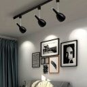 Industrial 3 Light Semi-Flush Ceiling Light Soptlight with Metal Shade in White/Black