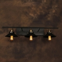 Industrial 35.4''W Multi Light Wall Sconce with 3 Light and Cone Metal Shade in Black Finish