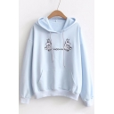 New Stylish Hippo Letter Embroidered Dropped Shoulder Pocket Leisure Hoodie