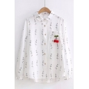 Fashion Pom-Pom Embroidered Cherry Leaf Pattern Lapel Long Sleeve Shirt
