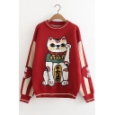 Stylish Fortune Cat Pattern Round Neck Long Sleeve Pullover Sweater