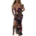 Secy Open Back Split Side Floral Print Halter Neck Maxi Slip Dress