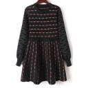New Trendy Striped Print Round Neck Long Sleeve Knitted Dress