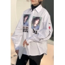 Chic Character Letter Print Lapel Long Sleeve Loose Shirt