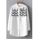 Elegant Lace Panel Bow Neck Button Down Layered Women's Tunic Shirt