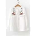 Trendy Floral Embroidered Long Sleeves Button Down Girly Loose Shirt