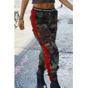 Fashionable Striped Side Camouflaged Zipper Fly Flap Pockets Loose Pants