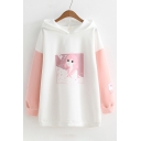 Casual Color Block Cartoon Girl Print Long Sleeve Hoodie