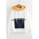 Chic Color Block Letter Pocket Embellished Long Sleeves Pullover Loose Hoodie