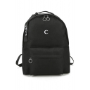 Basic Unisex Moon Embroidered Zippered Backpack Schoolbag