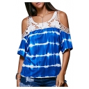 Fashion Lace Insert Striped Print Cold Shoulder Short Sleeve Tee
